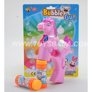 Solid Color Horse Flashing Musical Bubble Gun with 2 Bubble Water