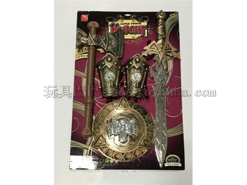 Bronze sword + hand ax + 2 + bronze shield No.:K155-34