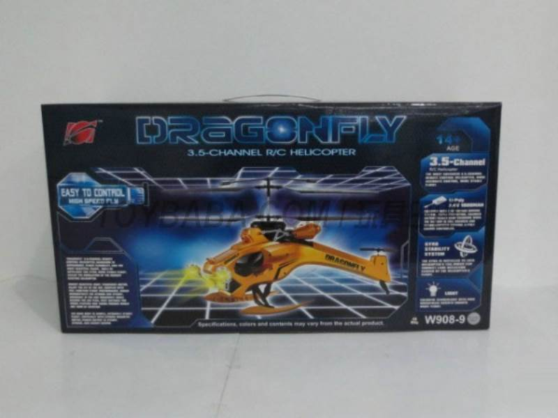 3.5 channel helicopter with gyro big dragon (red / gold / silver ) radio remote control No.:W908-9