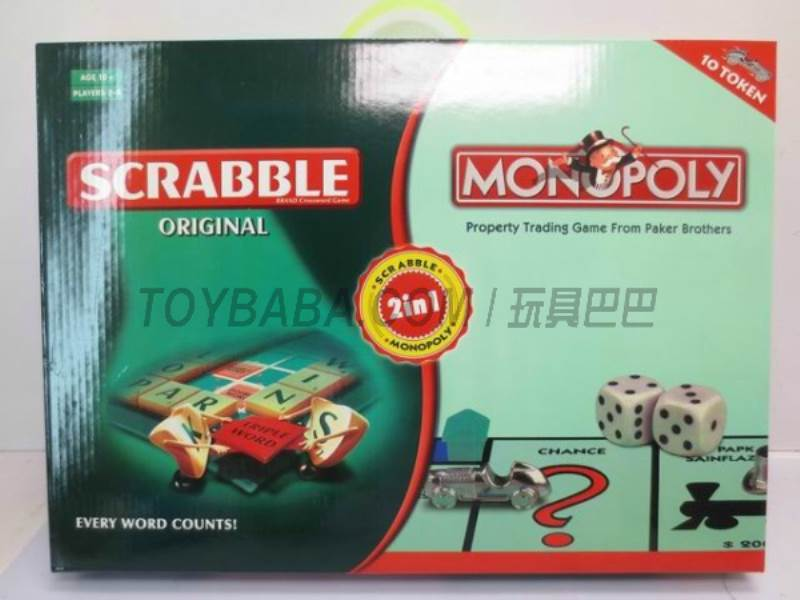 Scrabble Monopoly Cars 2 in 1 game No.:55183
