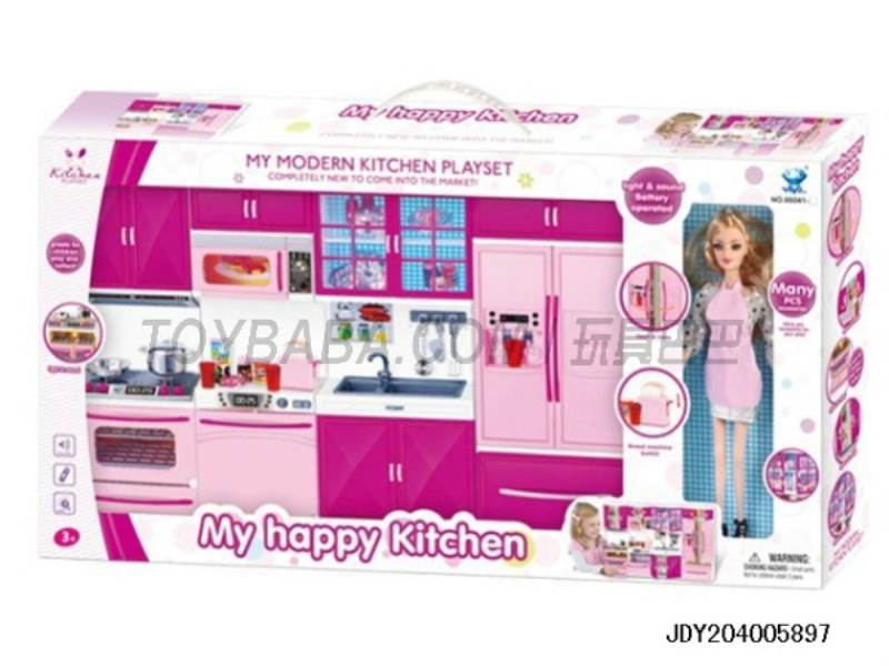 Trays refrigerator + + + Microwave oven + with Barbie ( light music with two 7 batteries ) No.:66041