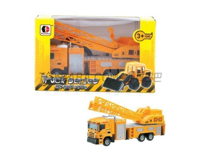 Sliding alloy construction vehicles - Crane (yellow ) No.:1813-1F