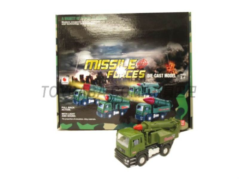 Alloy back military missile car ( sound and light music No.:BF019-A