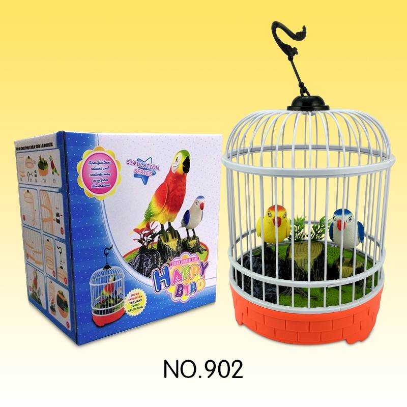 Sound Voice Control Couple Parrot Bird Toy with Round Cages No.:902