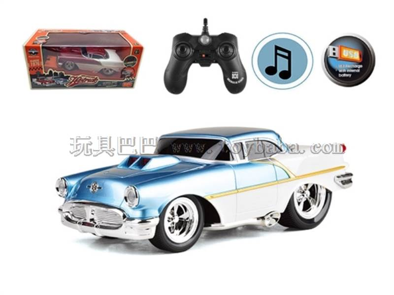 1:16 2.4G 4 Channel RC muscle modified car Built-in battery + USB charging with lights No.:MK021B