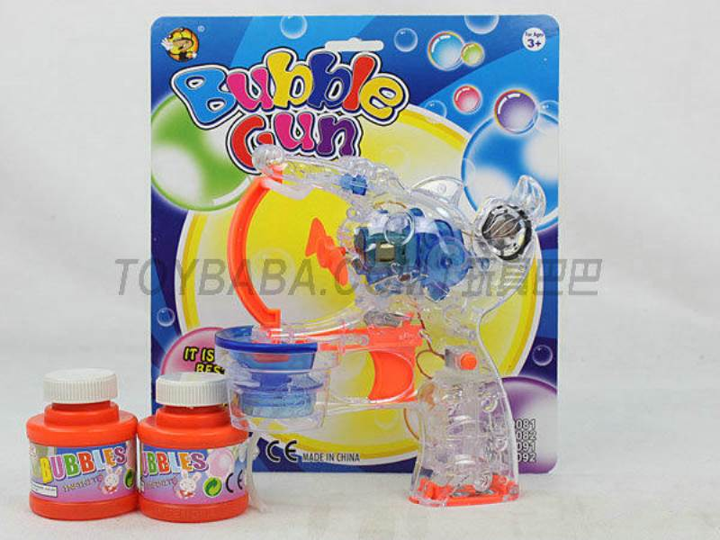 Transparent Medium Bubble Double Flashing Automatic Musical Bubble Gun with 2 Big Bubble Water No.:MY10081Y-2