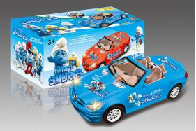 Electric Universal Racing Musical Cars with English Song-Smurfs No.:0689BL