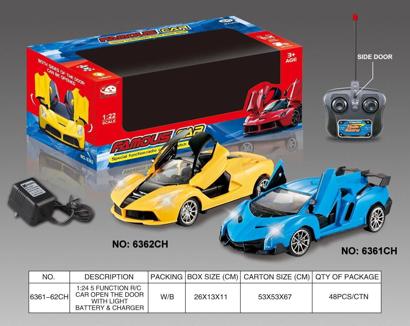 1:24 5 FUNCTION R/C CAR OPEN THE DOOR WITH LIGHT INCLUDED BATTERY AND CHARGER No.:6361-62CH
