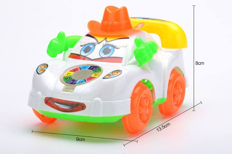 Solid color pull cartoon cowboy car with bell No.TA252180
