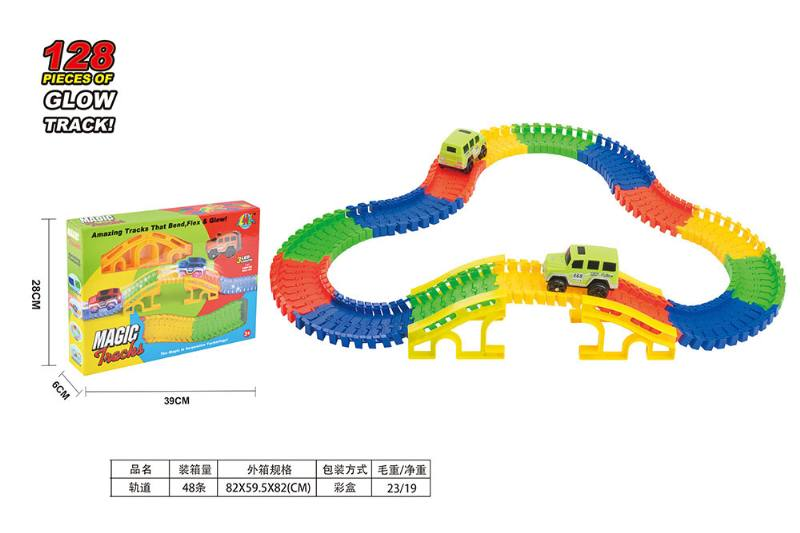 Puzzle electric assembling night light track train toy No.TA253465