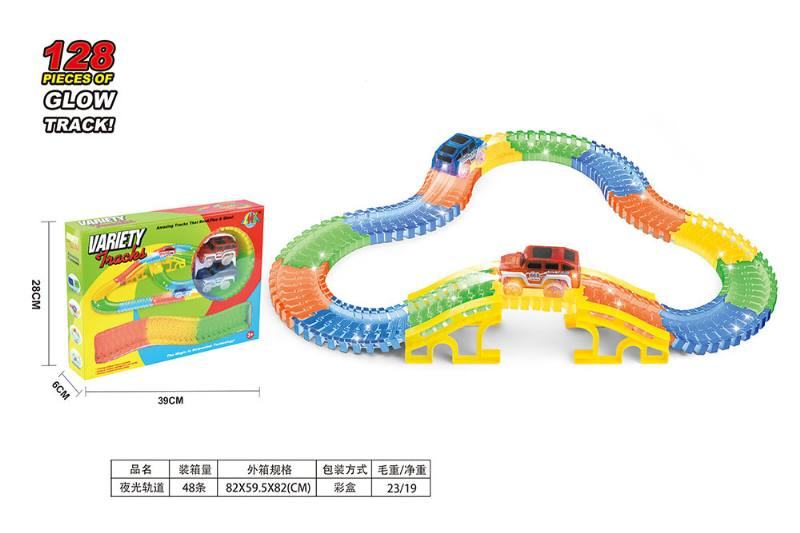 Puzzle electric assembling night light track train toy No.TA253466