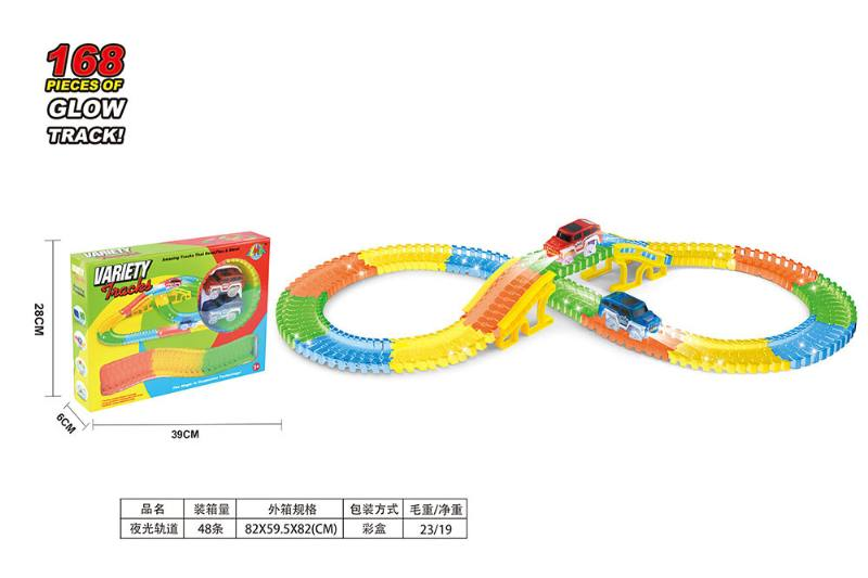 Puzzle electric assembling night light track train toy No.TA253468