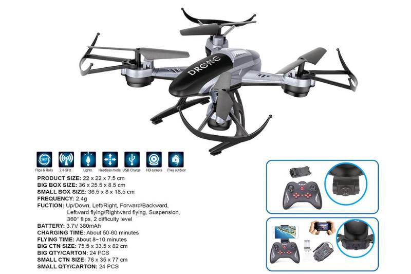Remote Control RC Drone UFO aircraft Aircraft Toys Quadcopter Grey/White No.TA203981