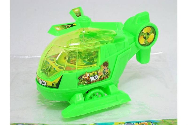Pull line string toys BEN10 Pull line helicopter with lights green No.TA236756