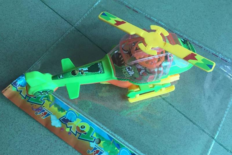 Pull line cartoon toy Pull line helicopter with lights green No.TA236762
