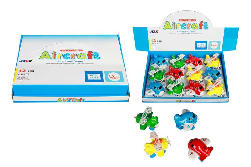 Mini alloy inertial cartoon aircraft 2 4 color mixing 12/box No.TA237550