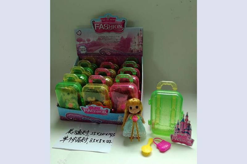 3.5 inch doll with suitcase Barbie doll toys No.TA256748