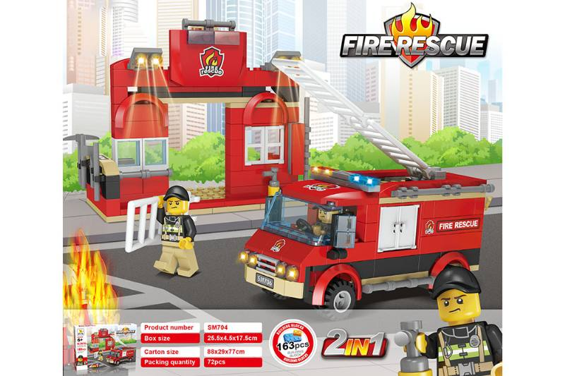 Educational toy blocks, fire protection, two small fire trucks No.TA253976