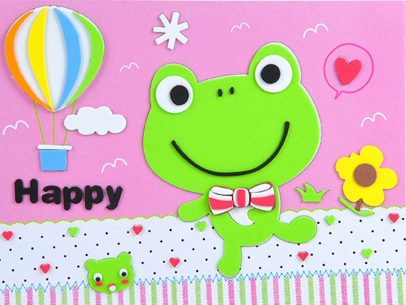 Educational intelligent EVA handmade paste painting DIY toys happy frog cartoon puzzle No.TA141064