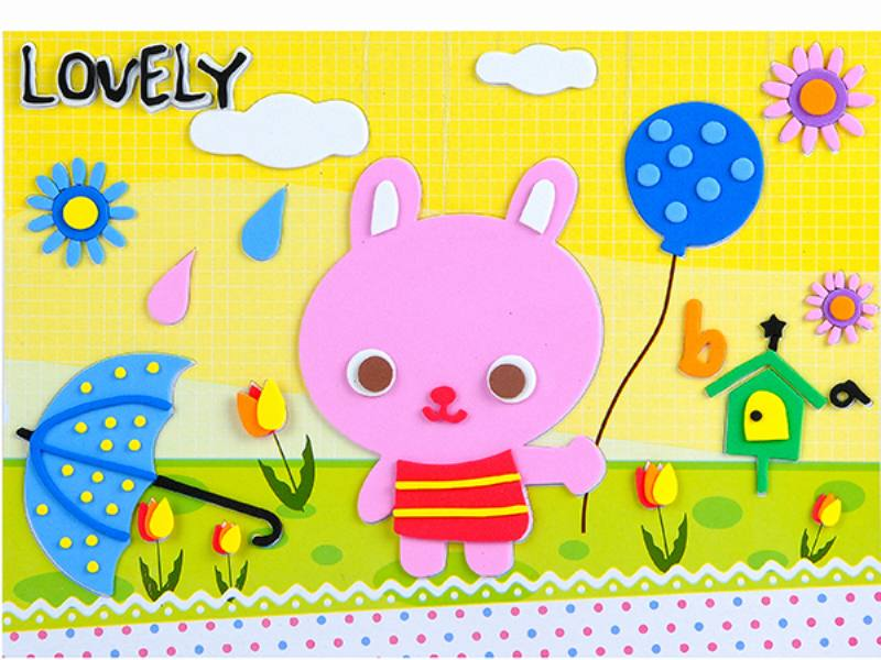 Educational intelligent EVA handmade paste painting DIY toys umbrella cartoon cartoon puzz No.TA141070