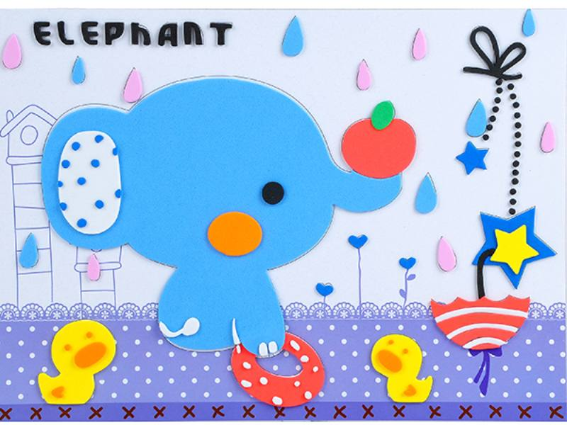 Educational intelligent EVA handmade paste painting DIY toys elephant bath cartoon creativ No.TA141071