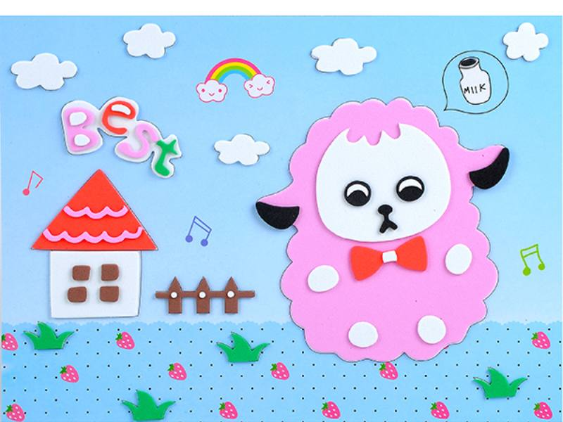 Educational intelligent EVA handmade paste painting DIY toys sheep cartoon cartoon puzzle No.TA141072