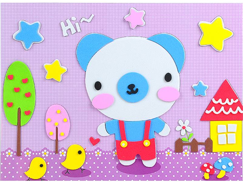 Educational intelligent EVA handmade paste painting DIY toys little bear cartoon cartoon p No.TA141074