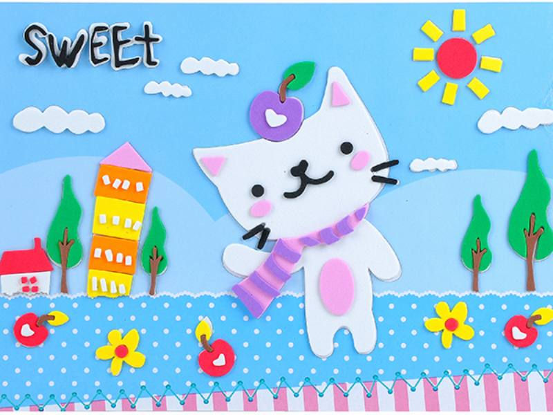Educational intelligent EVA handmade paste painting DIY toys sweet candy cartoon cartoon p No.TA141076