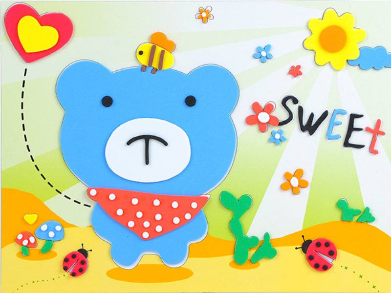 Educational intelligent EVA handmade paste painting DIY toys love puzzle cartoon puzzle No.TA141077