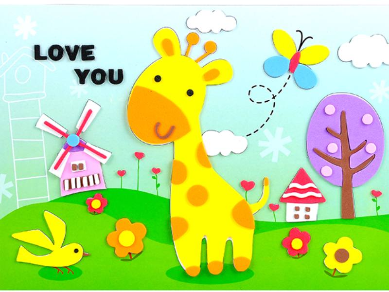 Educational intelligent EVA handmade paste painting DIY toys giraffe cartoon creative mosa No.TA141078