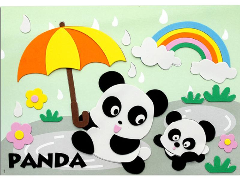 Educational intelligent EVA handmade paste painting DIY toys panda puzzle cartoon puzzle No.TA141079