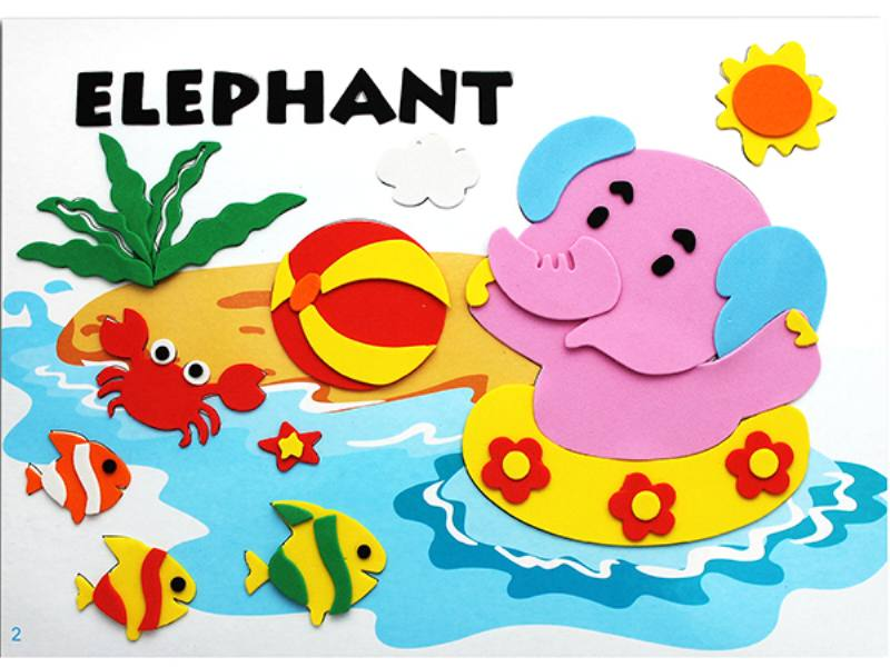 Educational intelligent EVA handmade paste painting DIY toys small elephant swimming carto No.TA141080