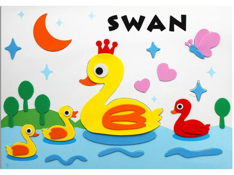 Educational intelligent EVA handmade paste painting DIY toys little duck cartoon cartoon p No.TA141081