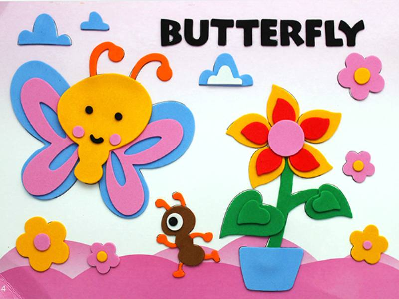 Educational intelligent EVA handmade paste painting DIY toys butterfly cartoon cartoon puz No.TA141082