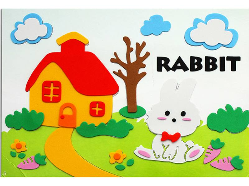 Educational intelligent EVA handmade paste painting DIY toys rabbit puzzle cartoon puzzle No.TA141083