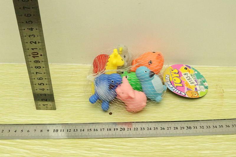 Silicone toy mesh bag 8 silicone animals No.TA254273