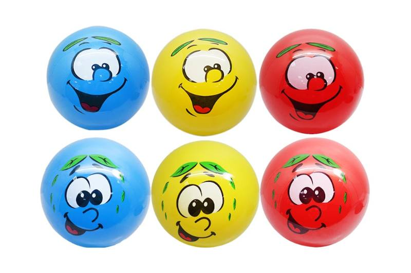 PE Sport Toys Balls 9 inch scented smiley face (3 color mix) yellow blue red No.TA233967