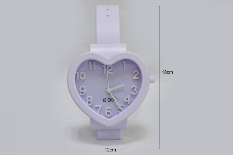 Three-dimensional digital watch alarm clock Heart-shaped (pink pink pink purple 3 colors) No.TA236789