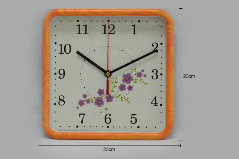 9-inch square flower wall clock (3 types of flowers) No.TA249183