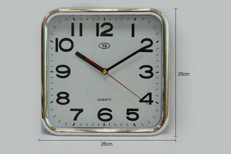 10-inch Square Plating Wall Clock (Gold and Silver 2 colors) No.TA249185