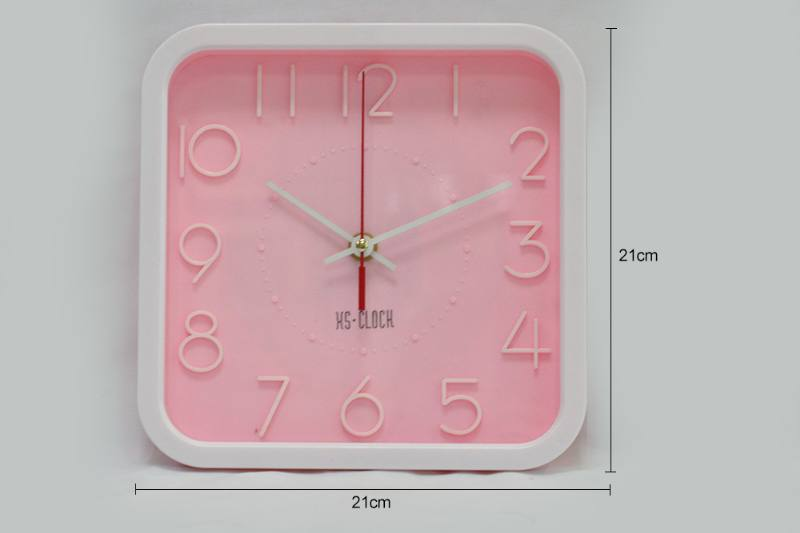 8.5 inch simple three-dimensional square wall clock (3 color clock face) No.TA249187