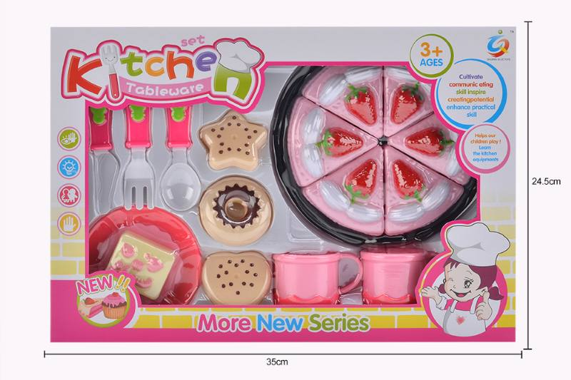 Play house toy pink tea set No.TA253922