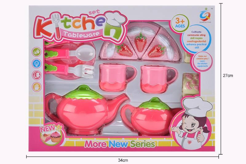 Play house toy pink tea set No.TA253923