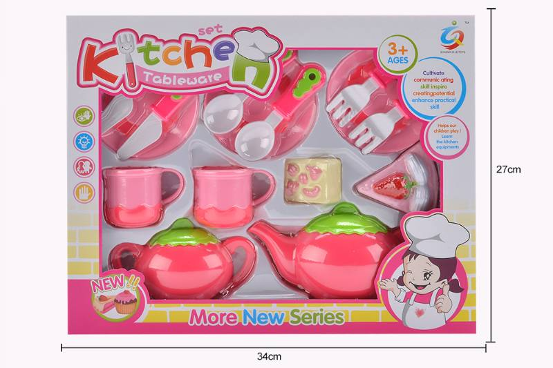 Play house toy pink tea set No.TA253924