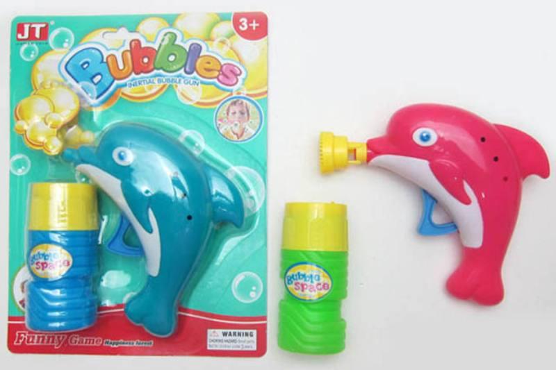 Summer toys Dolphin manual inertia bubble gun (two-color mixed) No.TA253537