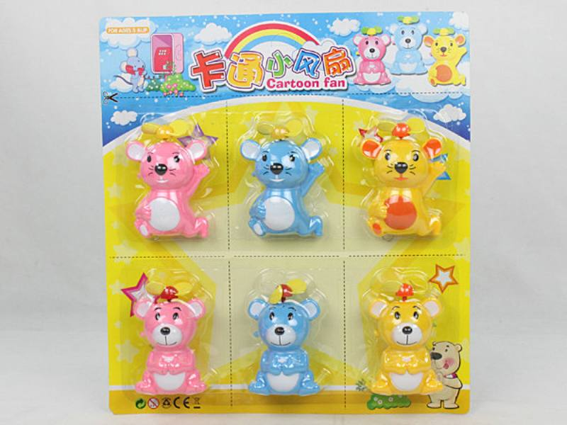 Cartoon mini fan cartoon mini fan creative gift (pink yellow blue three-color mixed) No.TA124617