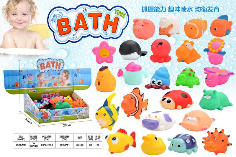 Silicone Play Water Bathing 24 Water Spray Animals No.TA249370