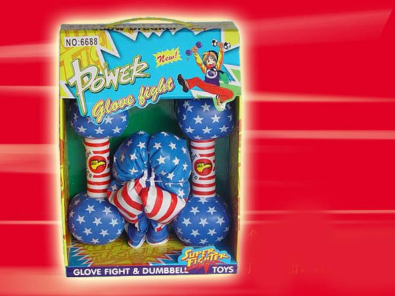Sports Fitness Toy Boxing Gloves American Flag Dumbell with Simulation Gloves (Set) No.TA147560