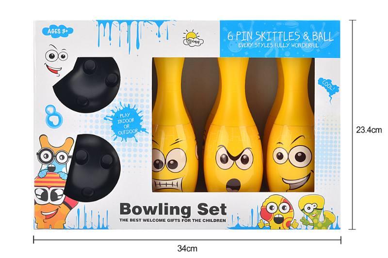 Bowling toy 22CM yellow smiley bowling 6 bottles 2 balls No.TA253289