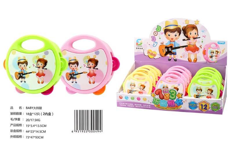 Musical Instrument Toy BABY Tambourine 12/Display Box No.TA247612